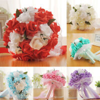 Crystal Roses Bridesmaid Wedding Flowers Bouquet Bridal Artificial Silk Flowers
