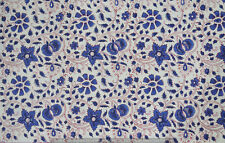 5 Yard Indian Hand Block Print Cotton Fabric Blue Running Loose Printed Decor