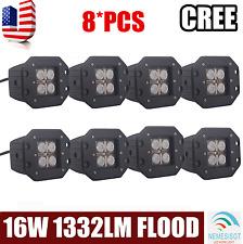 """8PCS 5"""" 16W CREE LED POD LIGHT SQUARE LAMP CUBE BUMPER FLOOD FLUSH MOUNT DRIVING"""