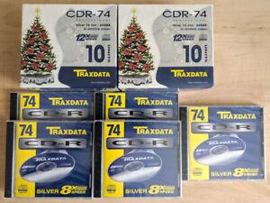 25 Stück TRAXDATA + ( 5 Stück TDK )  CD-R 74 Min silver CD Rohlinge 650 MB