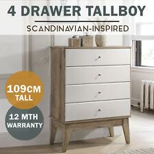 MEYA Tallboy 4 Chest of Drawers Scandinavian Oak Modern White Storage Dresser