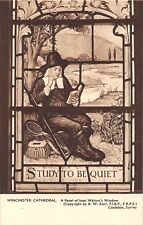 POSTCARD   FISHING   ISAAC  WALTON   WINCHESTER  Cathedral  Window