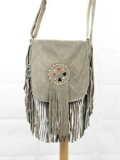 Boho Leather Soft Suede Shoulder Saddle Bag with Tassels and Adjustable Strap