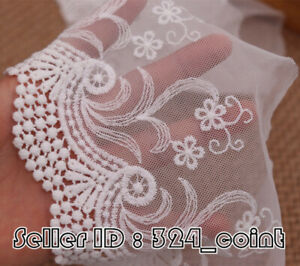 1YD,Cotton Floral Embroidery Tulle Lace edge Trim Ribbon Fabric Sewing DIY HB120