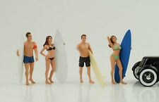 Surfer Set 4 Figuren mit Board Bikini Girl / Figur 1:18 American Diorama no car