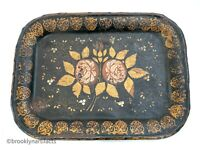 Antique Americana Folk Art Tole Black Painted Tin Serving Tray with Roses