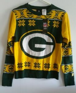 Green Bay Packers Youth Sx Large (14-16) Long Sleeve Ugly Sweater NWT