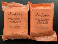 Shea Moisture Coconut Hibiscus  Facial Wipes Organic Natural 2 Packs of 30 Each