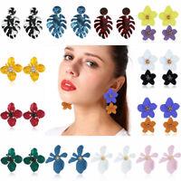 Fashion 1 Pair Women Lady Boho Big Flowers Ear Stud Earrings Charm Jewelry