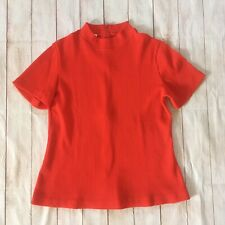 60s 70s Vintage Red Mock Neck Ribbed Short Sleeve Shirt Size Large Lucky Tops