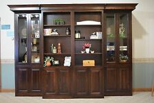 Library Murphy Bed Full Size Glass Doors Sliding Cabinets BookCases Headboard