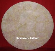 Natural Rose Quartz Round Coffee Table Top, Gorgeous Quartz Handmade Table Tops