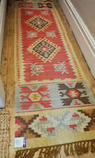 100% Wool Kilim Tribal rug 60x245cm Quality Hand Made runner pale ochre, grey
