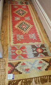100% Wool Kilim Tribal rug 60x245cm Quality Hand Made runner pale ochre, grey