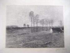 1921 wood engraving by John W. Evans: A Hillside Farm, after J. Francis Murphy