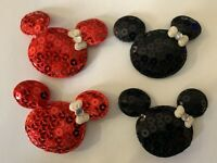 (4) Padded Sequin Disney Mickey Minnie Mouse Head Rhinestone Appliques / Hairbow