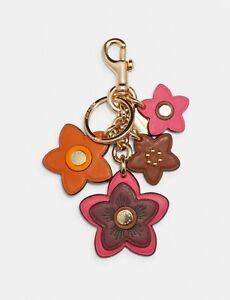 $98 COACH Wildflower Mix Bag Charm ~ Electric Pink ~ NWT 2803