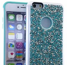 For iPhone 6+ / 6S+ Plus - BLUE Hybrid Armor Bling Case Diamond Rhinestone Stud