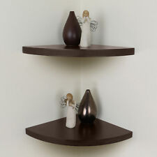 Brown Chunky Wood Curved/Radial Floating Corner Wall Shelf Pair/Set of 2 Shelves