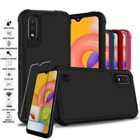 For Samsung Galaxy A01 Shockproof Armor Rugged Hybrid Hard Case+Screen Protector