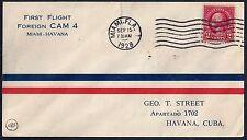 US 1928 FIRST FLIGHT CAM 4 MIAMI TO HAVANA CUBA
