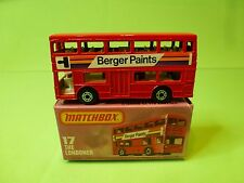 MATCHBOX 17  SUPERFAST BUS THE LONDONER - BERGER PAINTS - RED - NEAR MINT IN BOX