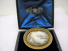 Antique 15ct Gold Mounted Carved Shell Cameo of Nyx. Pendant & Brooch Orgnl Box