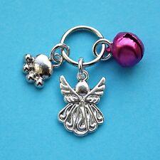 Guardian Angel Pet Collar Charm Pink Bell Paw & Angel New LB5