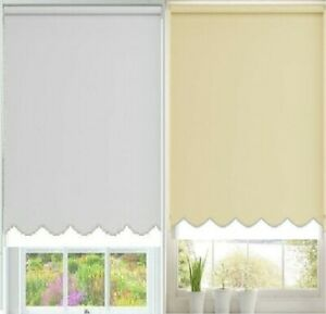 MODERN & STYLISH SCALLOPED EDGE WHITE / CREAM PLAIN FABRIC WINDOW ROLLER BLINDS