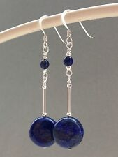 Beautiful Coin & Round Lapis Lazuli Gemstones Sterling Silver Drop Earrings