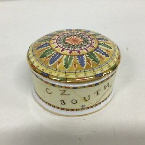 Wedgwood Bone China Atlas Small Ceramic Round Trinket Box Made in England #655