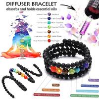 7 Chakra Healing Balance Prayer Beaded Bracelet Lava Yoga Reiki Stones