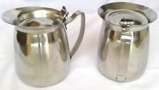 """2 Adcraft 5"""" stainless steel pitchers with lids cream/syrup/milk insulated Japan"""