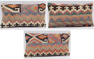 """Kurdish 3 kilim pillow seat pillow urban retro rug pillow kilim area rugs 20X14"""""""