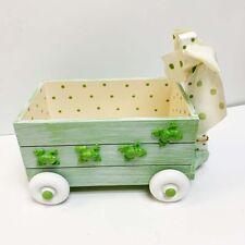 New The Bearington Collection Croaker Stuffed Frog Green Wooden Cart Wagon