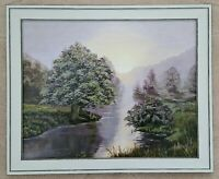 Ölbild Ölgemälde handgemalt Pastell Fluss Wald Romantik + Rahmen 24x30