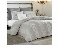 NEW Peri Home Geo Cut Duvet Cover in Gray Size Twin