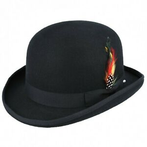 Black 100% Wool Bowler Hat with Removable Feather Satin Lined in 5 sizes