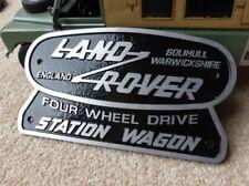 Land Rover Serie 2 2a 3 OEM Emblema De Metal Fundido Station Wagon Placa