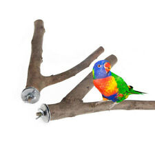 2Pcs Wooden Parrot Bird Cage Perches Stand Tree Branch Budgie Hanging Toy #Am8