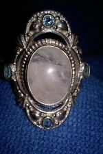 Sterling Silver Rainbow Moonstone & Blue Topaz Ring/Himalayan Gems