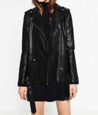 Zara 149$ faux leather Long Black jacket With Belt Size Xs Worn Once