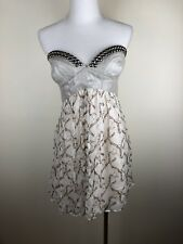 THURLEY Strapless Dress Studded Linen Bustier And Silk Bird Print Skirt -Size 12