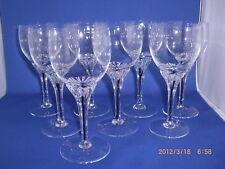 "8 EXQUISITE BLACK CORE STEM WINE GOBLET GLASSES BELFOR BOHEMIA 5 7/8"""