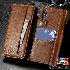 Genuine Leather Wallet Card Holder Flip Stand Case for iPhone X & iPhone 8 Plus