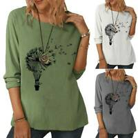 New Casual Lady T Shirt Long Sleeve Print Pullover Loose Baggy Tee Blouse Tops