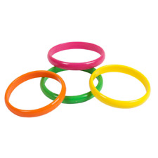 Ladies 80s 1980s Fancy Dress Pack of 4 Bangles Bracelets Bracelet Neon Colours w