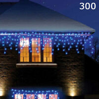 Super Bright 300 LED Blue Christmas Chaser Icicle Lights Indoor Outdoor 8 Modes