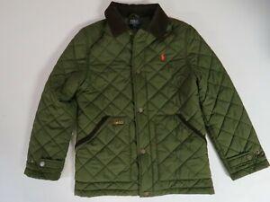 Polo Ralph Lauren Forest Green quilted Orange pony Medium weight jacket L 14-16