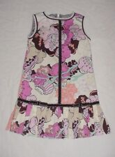 EUC Trish Scully Pink Brown & Ivory Floral Drop Waist Pleated Skirt Dress Sz 5